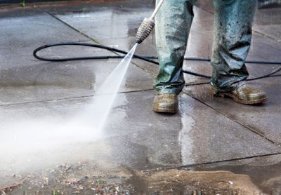 power washing a patio